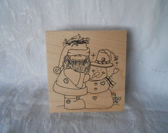 Extra Large Christmas Santa and Snowman Stamp - Great Impressions Stamp - Christmas Stamp - Destash - Never Used - Ready to Ship
