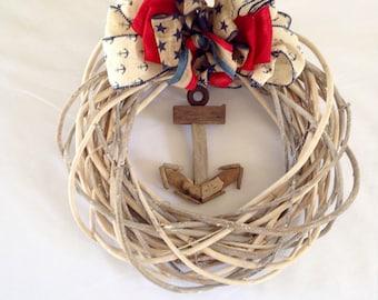 Nautical Wreath-Anchor Decoration-Boating Decor-New England Wreath-Americana Wreath-Annie Gray Design