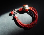 SPRING SALE! Multi Strand Coral Bracelet with Sterling Silver and Charms, Tribal Bracelet, Natural Coral, Jewelry Trends