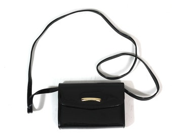 80s Vintage Black Patent Leather Bag