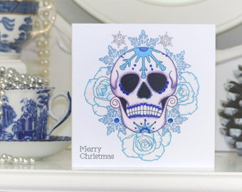 Frosted Rose and Sugar Skull Tattoo Alternative Christmas Card
