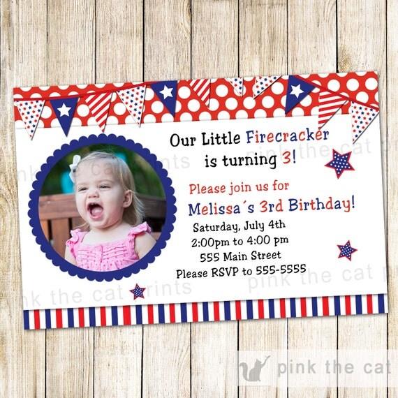 4 July Invitation Kids Birthday Party Girl Boy Personalized