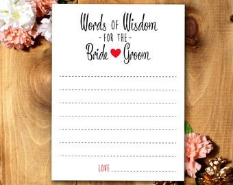 Words of Wisdom for the Bride and Groom - Bridal Shower Game/Advice Cards *Printable*