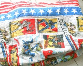 Vintage GI JOE Comforter Twin.....1990s. kids. boys. children. television. tv show. kids bedding. retro. sleeping bag. military. adventure