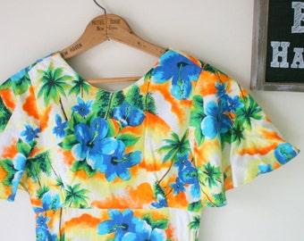 1970s Hawaiian Dream Dress....size xs small medium...mod. dreamy. maxi dress. 70s dress. tangerine. ruffled. kawaii. vintage hawaiian dress