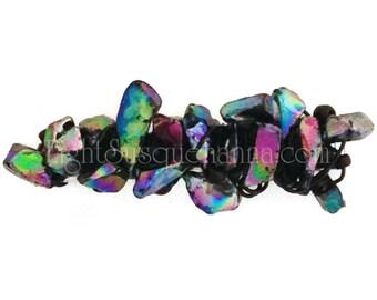Small Black Iris Nugget-wrapped Barrette BA1574