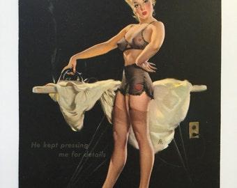 vintage 1940s calendar pinup print 'He kept pressing me for details' ironing lingerie