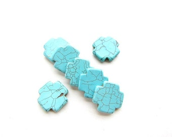 7 Large Turquoise Dyed Howlite Cross Beads
