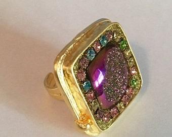 SUMMER SALE Titanium druzy and austrian crystal ring