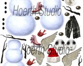 Christmas holiday collage sheet DIY  snowman craft sheet printable download