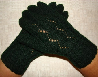 Women gloves- hand knitted from natural wool, very warm, dark green