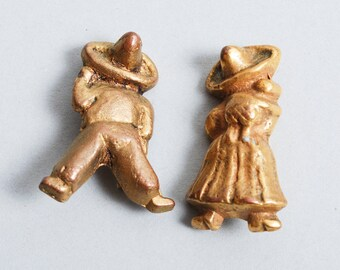 Set of 2 Vintage brooches, Mexican  Latin American figurines, man and woman in Sombrero