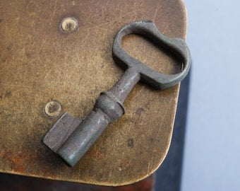 Antique brass miniature skeleton key. original dark patina
