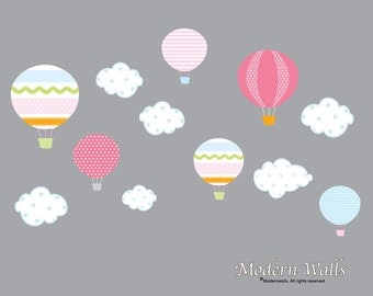 Hot Air Balloon Nursery-Hot Air Balloon Decals-Hot Air Balloon and Cloud Decal-Wall Stickers-Girls Bedroom-Nursery Decor-Wall Sticker