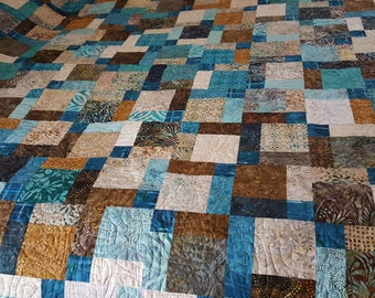 Handmade Contemporary Batik Quilt in Turquoise and Brown-Queen or King Size