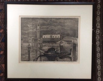 Vintage Engraving of Venice Grand Canal Signed J Cassadei / Evening in the Grand Canal Venice 2/100