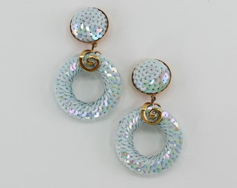 Vintage Metallic Light Blue Aurora Borealis Sequin Domed Goldtone Door Knocker Hoop Iridescent Spiral Cluster Clip On Earrings