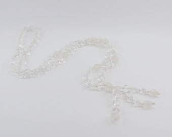 Vintage Clear Hard Plastic Concentric Heart Beaded Tassel Opera Length Pullover Necklace