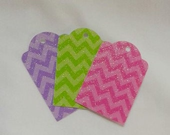 Fun Chevron Gift Tag Set of 6 ... Pretty spring colors ... Pink, Purple, Green