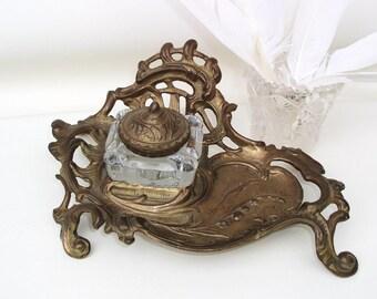 Vintage Brass Inkwell Glass Ink Holder Clear Glass Lidded Box Art Nouveau Decor