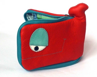 Red and turquoise Whale wallet,cats on rooftops inside