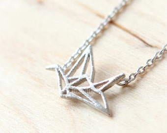 Origami Crane Necklace / choose your color, gold, silver, pink gold