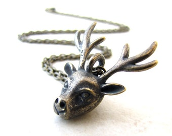 Deer Necklace Stag Reindeer Horns Christmas Hunter Tribal Indian Animal Head