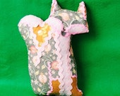 "Fox Softie ""Foxtile"" decorative pillow in pinks, gray, and gold"