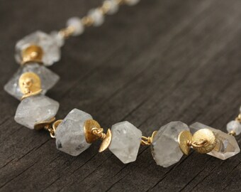 Long Herkimer Diamond and Gold Necklace