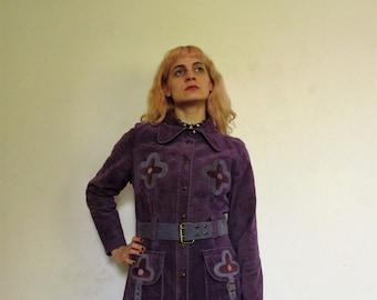 60's Vintage Hippie Boho Purple Suede Coat W/ Flowers medium