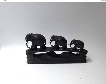 ON SALE Vintage mid century hand carved ebony elephant family figurine