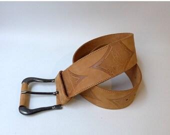 ON SALE Vintage boho embossed pale tan designer Benetton Tuareg wide belt