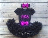 One Birthday  set, hot pink and black Birthday outfit, Glitter ONE outfit with soft black pettiskirt and matching sequin bow