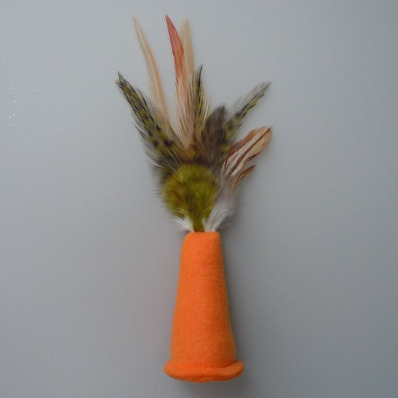 Catnip Cat Toy Orange Fleece Party Hat with Olive Green Feathers