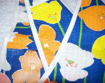 Cross over apron; Japanese style; royal blue with orange , yellow & white flowers! Child size.
