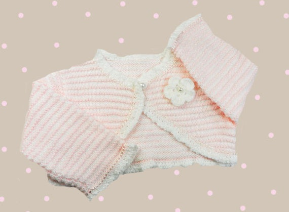 Knitted baby bolero,Hand knitted baby bolero in soft pink and white, fashion baby, christening clothes, READY TO SHIP