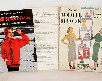 3 Vintage 1940s-1950s Knitting Pattern Books.. Wool 1948, Winter Sports 1957 & Cardigans