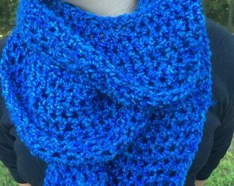 Infinity Scarf in Sky Blues Elegant Crochet Cowl