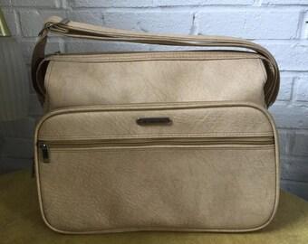 Vtg Beige / Cream Samsonite Silhouette 2 Travel Bag / Carry On Tote Bag