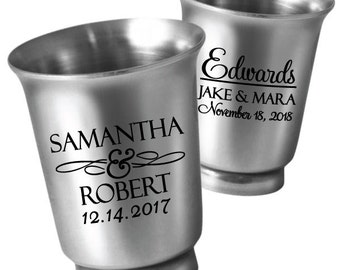 96 Personalized Wedding Favors 1.5oz Stainless Steel Shot Glasses - Unique Wedding Favor Ideas