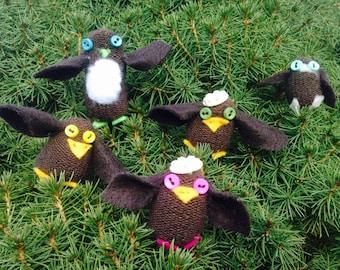 sock monkey, sock owl, glove owls, repurposed socks and gloves