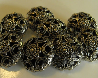 "8 Silver Flower and Rainbows Large Round Shank Buttons Size 15/16""."