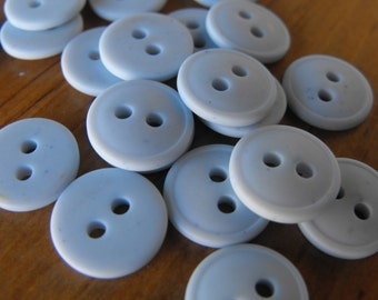 24 Light Blue Lifted Rim Round Buttons Size 7/16""