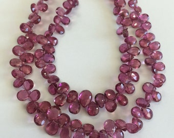 Pink Tourmaline Faceted Tear Drops-Graduated