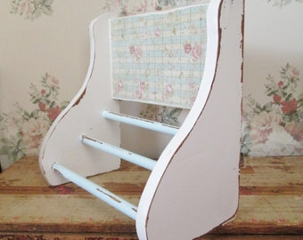 shabby chic towel holder rack aqua cottage decor pink rose towel rack wood bathroom towel holder