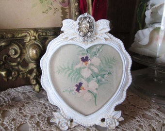 shabby chic art picture frame vintage postcard miniature picture frame