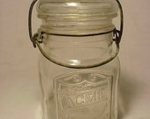c1920s ACME Pint Canning Fruit Jar with an Embossed Patriotic Stars & Stripes Shield