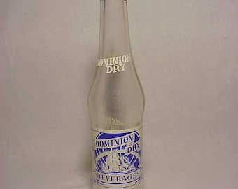 1949 Dominion Dry Beverages Louis E. Farrell Burlington and Montpelier, Vermont, Clear ACL Painted Label Crown Top Soda Bottle
