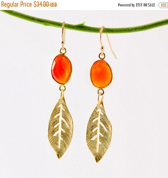 40 OFF - Bezel set Carnelian connecters with Matte Finished 16k gold Plated leafs earrings