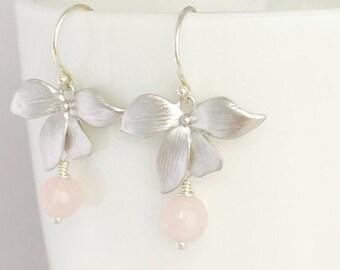 Wild Orchid Silver Earrings, Rose Quartz, Argentium Sterling Silver Hoops, Flower Earrings, Light Pink